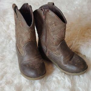 Girls Dark Brown Cowboy Boot